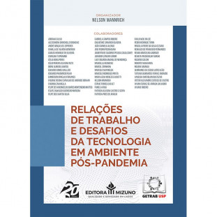 Capa do livro Relações de Trabalho e Desafios da Tecnologia em um Ambiente Pós-Pandemia de frente em perspectiva