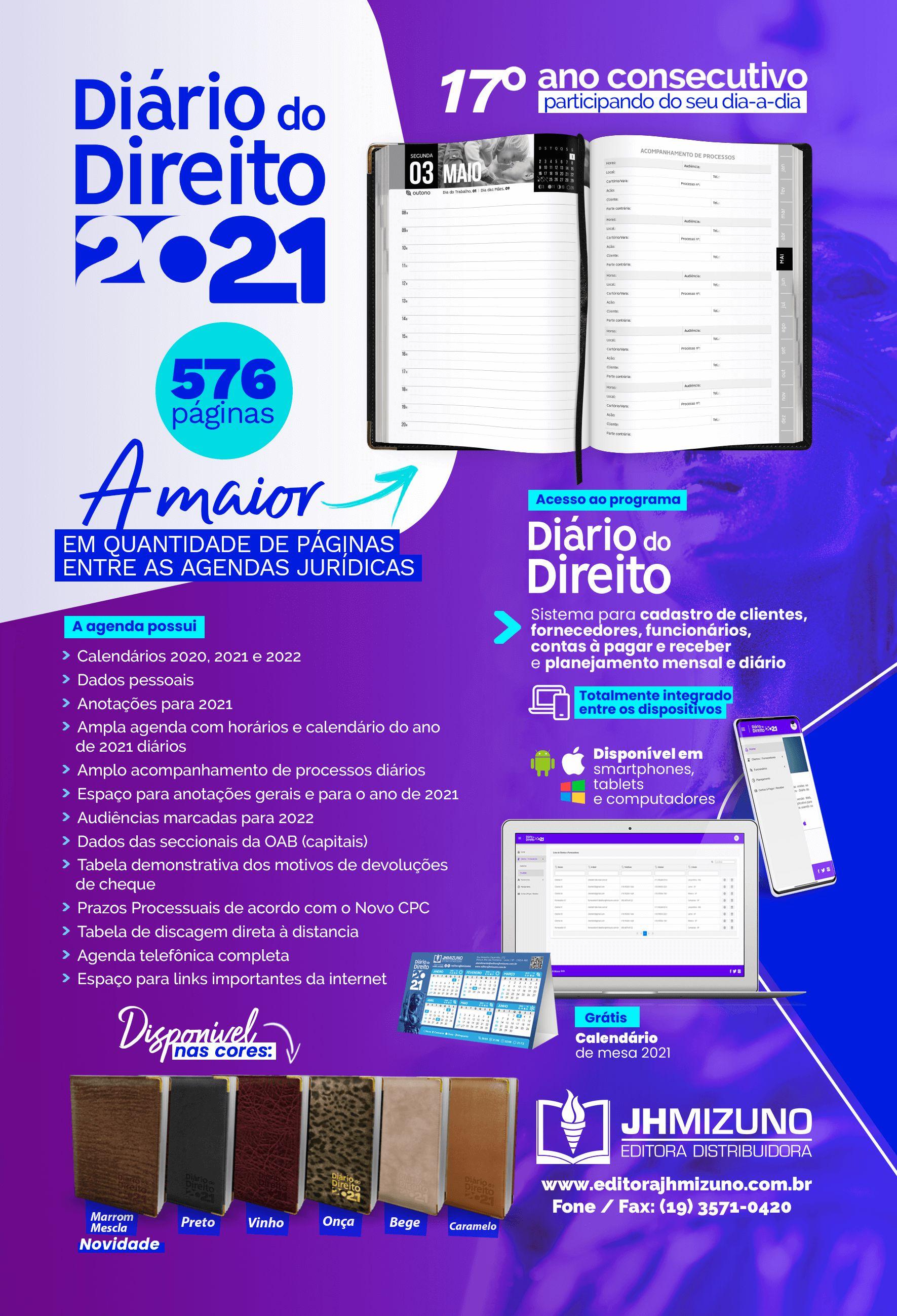 Detalhes da Agenda Jurídica - Diário do Direito 2021 da Editora Mizuno